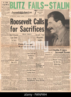 1941 front page New York Journal American Roosevelt speech call for sacrifices - Stock Photo