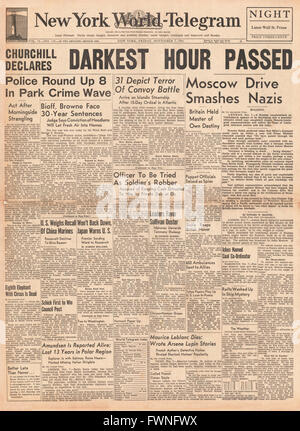 1941 front page New York World Telegram Churchill declares darkest hour has passed - Stock Photo