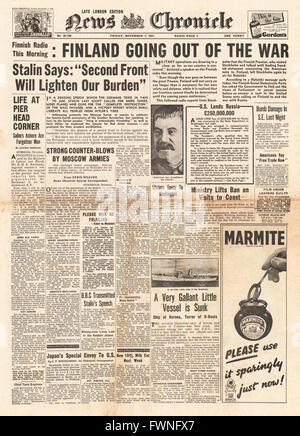 1941 front page News Chronicle Finland wants a cessation to hostilities and Stalin calls for a second front - Stock Photo