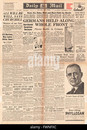 1941 front page Daily Mail German Army held along Eastern Front and Churchill says 'At the end, all will be well' - Stock Photo