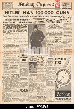 1941 front page Sunday Express Lord Beaverbrook calls increased productivity - Stock Photo