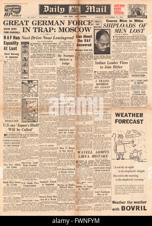 1941 front page Daily Mail Battle for Moscow and Leningrad - Stock Photo