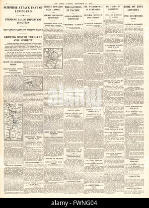 1941 page 4 The Times  Battle for Moscow and Leningrad, and RAF Bombing raids on Hamburg - Stock Photo