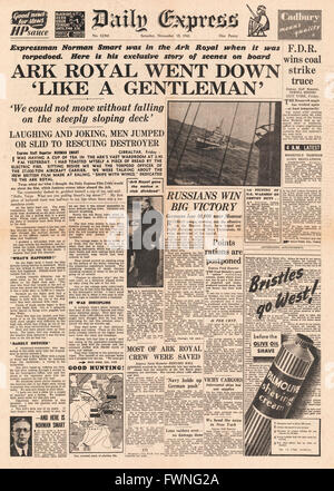 1941 front page Daily Express Sinking of HMS Ark Royal - Stock Photo