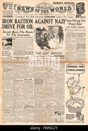 1941 front page News of the World German Army battle for Caucasus oil fields - Stock Photo