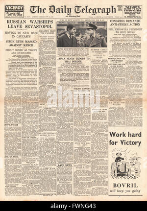 1941 front page Daily Telegraph Russian Warships leave Sebastopol, Japanese Troops on Thai Border and U.S. Congress - Stock Photo