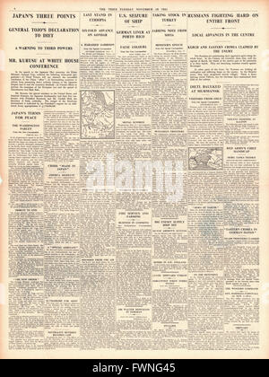 1941 page 4 The Times Tojo gives speech to Japanese Diet, fierce fighting on Eastern Front, British and Ethiopian - Stock Photo