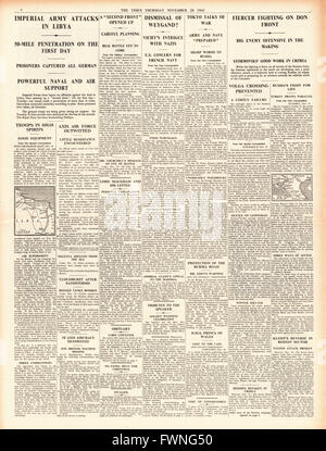 1941 page 4 The Times British forces advance in Libya, General Weygand Sacked and fierce fighting at Rostov - Stock Photo
