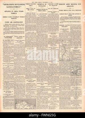 1941 page 4 The Times British Forces advance in Libya and Battle for Moscow - Stock Photo