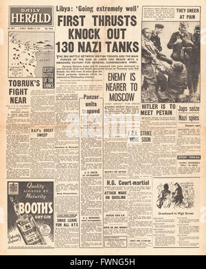 1941 front page Daily Herald British Forces advance in Libya - Stock Photo