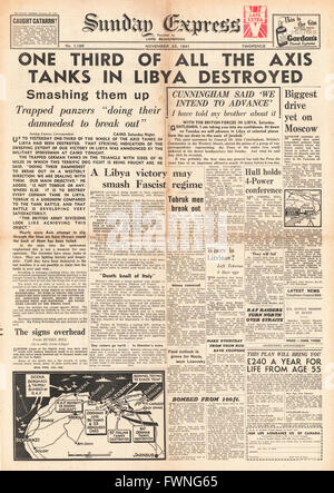 1941 front page Sunday Express Battle for Libya - Stock Photo