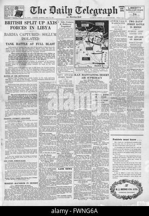 1941 front page Daily Telegraph Battle for Libya - Stock Photo