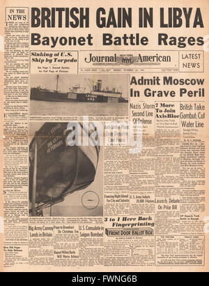 1941 front page New York Journal American Battle for Libya, Battle for Moscow and sinking of U.S. Cargo ship Lehigh - Stock Photo