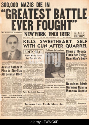 1941 front page New York Enquirer Battle for Moscow and release of book 'Germany Must Perish' by Theodore Kaufman - Stock Photo