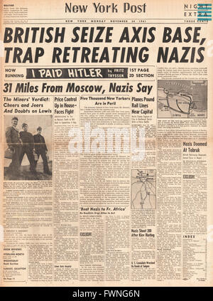 1941 front page New York Post Battle for Libya and Battle for Moscow - Stock Photo