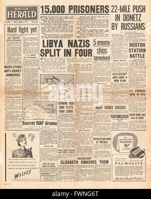 1941 front page Daily Herald Battle for Libya - Stock Photo