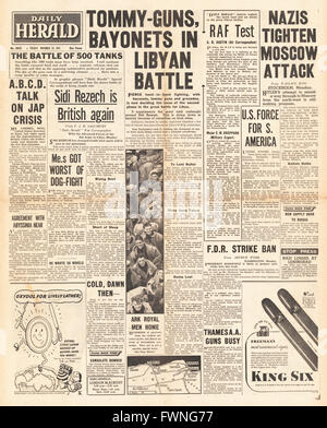 1941 front page Daily Herald Battle for Libya and Battle for Moscow - Stock Photo