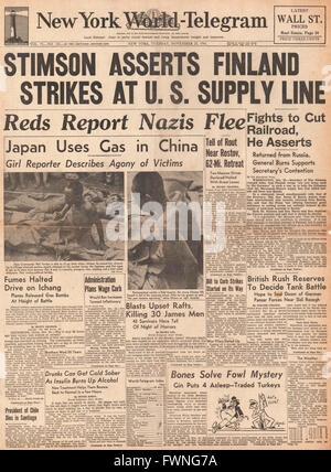 1941 front page New York World Telegram U.S. Secretary of War Stimson criticises Finland for helping German Army - Stock Photo
