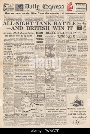 1941 front page Daily Express Battle for Libya and Battle for Moscow - Stock Photo