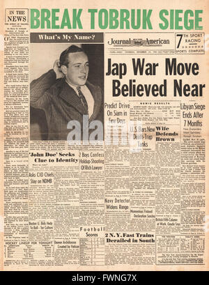 1941 front page New York Journal American Threat of Japanese War - Stock Photo