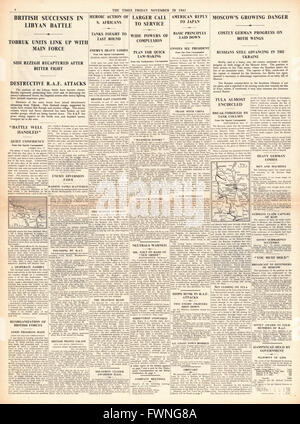 1941 page 4 The Times Battle for Libya and Battle for Moscow - Stock Photo