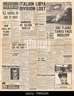 1941 front page Daily Herald Battle for Tobruk and Battle for Moscow - Stock Photo