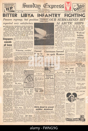 1941 front page Sunday Express Battle for Libya and Royal Navy Submarines protect Arctic convoys - Stock Photo