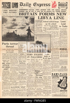 1941 front page Daily Express Battle for Libya - Stock Photo