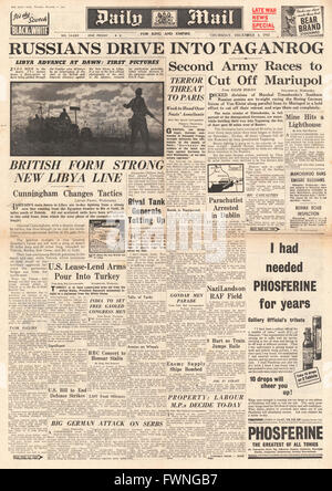 1941 front page Daily Mail Battle for Libya and Mariupol - Stock Photo