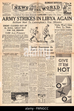 1941 front page News of the World Imperial Forces attack in Libya and Russian success in Battle for Moscow - Stock Photo