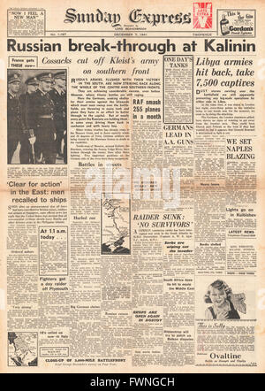 1941 front page Sunday Express Russian Army break through at Kalinin and Battle for Libya - Stock Photo