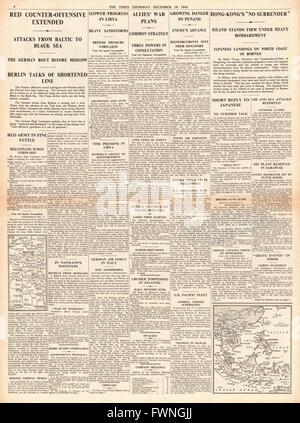 1941 page 4 The Times German Army defeat at Moscow and Hong Kong refuses to surrender - Stock Photo
