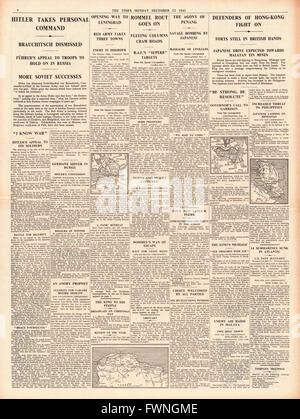 1941 page 4 The Times Field Marshal Von Brauchitsch is dismissed and Hitler takes full command of German Army - Stock Photo