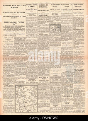 1941 front page The Times Battle for Moscow and Britain to aid Russia - Stock Photo