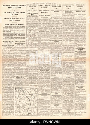 1941 front page The Times Battle for Moscow and U.S. ready to arm Merchant Ships - Stock Photo