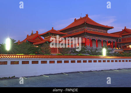 Chinese Dragon Temple in Bangkok Thailand at dusk - Stock Photo