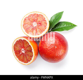 Fresh ripe red oranges. Isolated on white background. Top view - Stock Photo