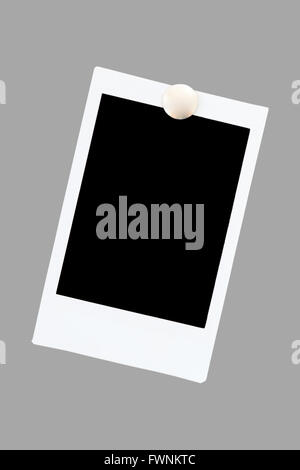 isolated blank instant photo film using as photo frame on gray background stock photo