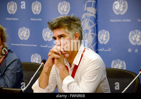 Alejandro Aravena, 2016 Pritzker Prize winner, talks during a press conference at the United Nations headquarters - Stock Photo