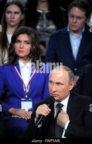 Russian President Vladimir Putin during a media forum held by the All-Russia Peoples Front April 7, 2016 in St. - Stock Photo