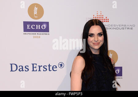Berlin, Germany. 07th Apr, 2016. British singer Amy Macdonald arrives to the 25th Echo music award ceremony in Berlin, - Stock Photo