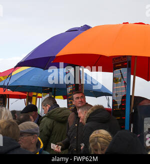 Aintree Racecourse, bookmaker, crowd, gambling, horse racing, horses, loose, money, people, racecourse, race horse, - Stock Photo