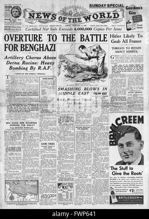 1941 front page News of the World  Battle for Benghazi - Stock Photo