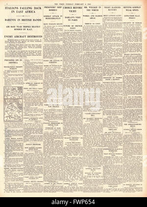 1941 page 4 The times British Forces advance in Eritrea and capture Barentu - Stock Photo
