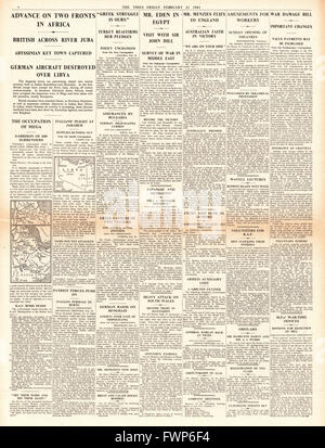 1941 page 4 The Times Imperial Forces advance in Libya, Abyssinia and Italian Somaliland - Stock Photo