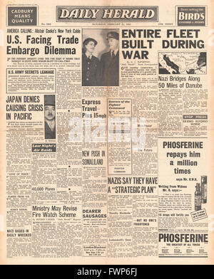 1941 front page  Daily Herald U.S. faces Trade Embargo and Japan denies causing crisis in Pacific - Stock Photo