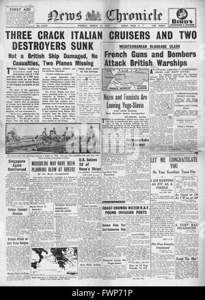 1941 front page News Chronicle Battle of Cape Matapan - Stock Photo