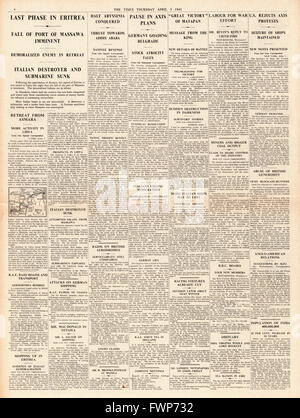1941 page 4  The Times Imperial Forces advance in Eritrea and Abyssinia - Stock Photo