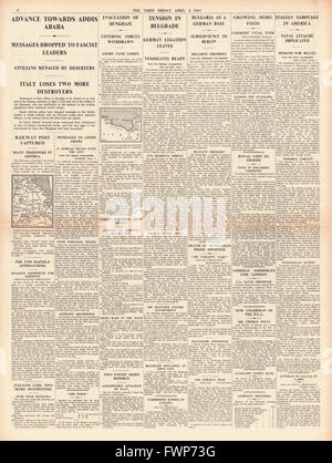 1941 page 4  The Times British Forces advance on Addis Ababa, Hungarian Premier Count Teleki Commits Suicide and - Stock Photo