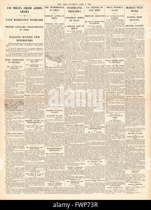 1941 page 4 The Times British Forces advance on Addis Ababa - Stock Photo